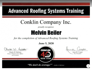 Conklin Commercial Roofing Systems Advanced Training Certification